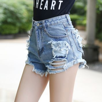 High Waist Washed Denim Shorts
