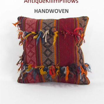 antique kilim pillow throw pillow boho rug pillow throw pillow cover decorative pillows home decor pillows 000134