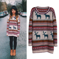 SUNFASHION Women's Fashion Hot Casual Light Khaki Deer Fair Isle Christmas Pattern Oversized Sweater (Color: Khaki)