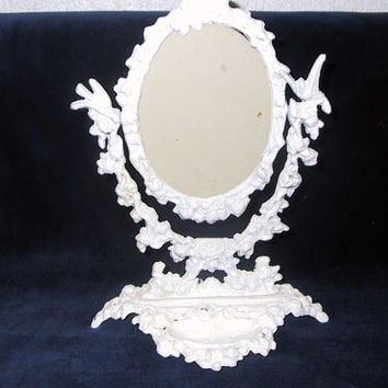 Vintage Cast Iron Picture/Mirror Frame with ornate design & front tray