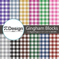 "Gingham Plaid Building Blocks 12""x12"" Digital Paper 12 Pack 