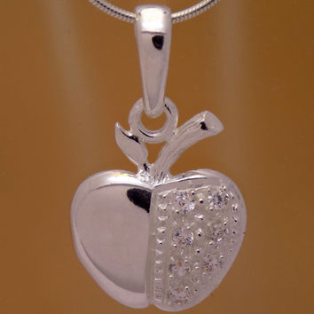 Impressive Solid Sterling Silver Cubic Zirconia Childrens Apple Pendant 925 Hallmark Gently Charming Cute Cool Lovely Design Kids Beautiful
