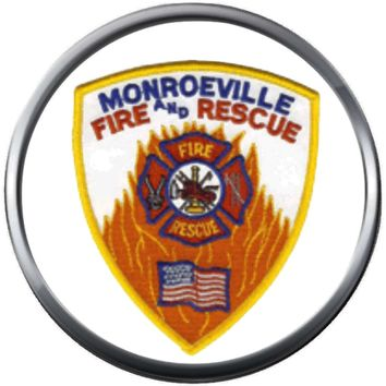 Monroeville Indiana Fire Department Shield Fire Rescue Fireman Thin Red Line Courage Under Fire 18MM-20MM Snap Charm Jewelry