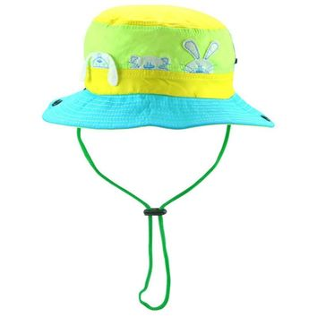 [JAMONT]Cartoon cute rabbit children summer sun hat baby boy girl large brim bucket hat kids fisherman mesh fishing panama cap