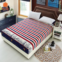 1Pcs Stripe Fitted Sheet Deep26cm Thicking Mattress Cover Printing Bedding Linens Bed Sheets With Elastic Band Pillowcase48x74cm