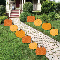 Pumpkin Patch - Pumpkin Shaped Lawn Decorations - Outdoor Yard Party Decorations - Fall or Halloween - Lawn Ornaments - 10 Pieces