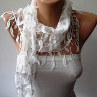 White Guipure Laced Fabric Scarf with White Trim by SwedishShop