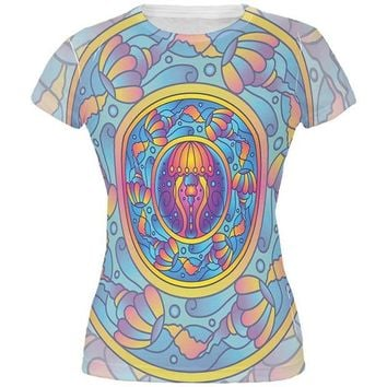 DCCKU3R Mandala Trippy Stained Glass Jellyfish All Over Juniors T Shirt