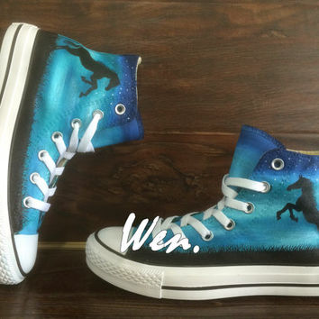 Horse Converse Horse Shoes Hand Painted Shoes Painted Custom Converse Canvas Shoes Birthday Gifts Custom Christmas Gifts WEN Original Design