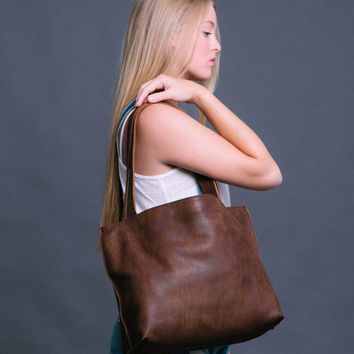 Soft Leather Tote - Brown Leather Tote Bag - Simple Leather Shoulder Bag - Everyday Tote Bag - Walnut Leather Tote - SHIRI BAG