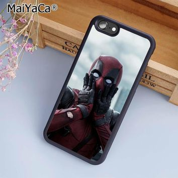 MaiYaCa Deadpool Shocked Face Funny Movie Scene Phone Case Cover For iPhone 5s SE 6 6s 7 8 plus 10 X Samsung Galaxy S6 S7 edge