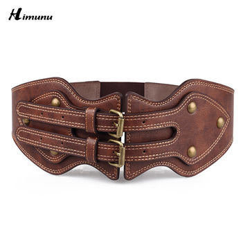 Retail Crazy horse cowhide Leather Double Retro pin Buckle Female Belts for Women Ms. clothing Cummerbunds Fashion Girdles