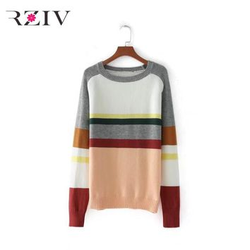 RZIV 2017 autumn female rainbow striped sweater casual sweater