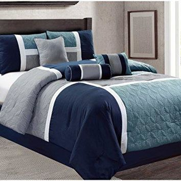Luxlen 7 Piece Luxury Bed in Bag Comforter Set, Cal King, Grey/Blue