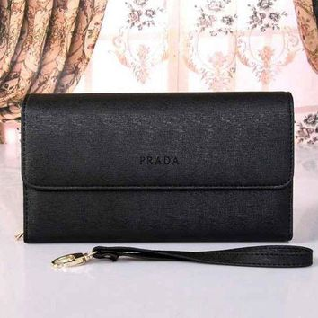 CREY9N PRADA Women Fashion Leather Buckle Wallet Purse