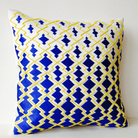 Throw Pillow case - Blue Yellow Decorative Pillowcase in Thread and Beads Sashiko Embroidery - Ivory Cushion - Gift - Wedding - Anniversary