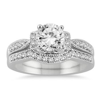 1 1/4 Carat Diamond Bridal Set in 14K White Gold