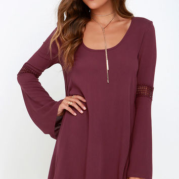 Others Follow Brennan Burgundy Shift Dress