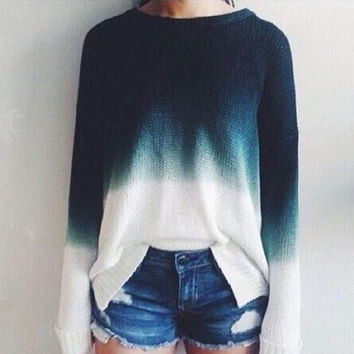 Ladies Knitted Sweaters Tops Women Vintage Long Sleeve Knitwear Jumper O Neck Blue White Fashion Pullover Sweater #80969
