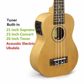 Soprano Concert Tenor Acoustic Electric Ukulele 21 23 26 Inch Small Mini Guitar 4 String Ukelele Guitarra Built In Tuner Uke