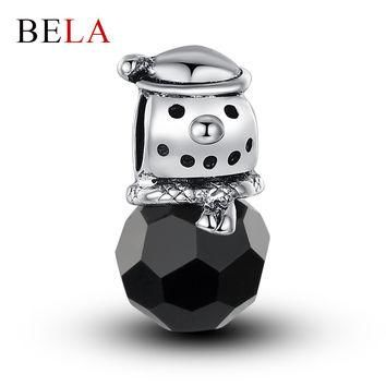 Christmas Beads Authentic 925 Silver Cute Snowman Crystal Charm Pendant Fit Pandora Br
