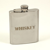 "7 oz. Stainless Steel Mirror Finish ""Whiskey"" Flask"
