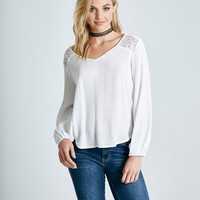 V-Neck Long Sleeve Lace-Inset Blouse | Wet Seal