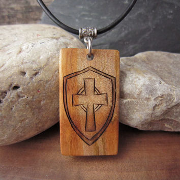 Mens Cross Necklace, Mens Wood Cross Pendant, Cross and mideavil Shield Pendant With Leather Cord, Pyrography Art
