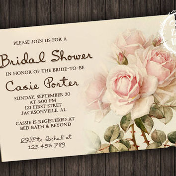 Personalized Printable Bridal Shower Invitation Floral Peonies Roses Flowers Rustic Romance Invite Pink Wedding Custom Country