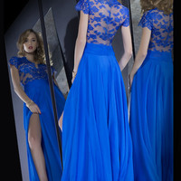 Short Sleeve Prom Dress,Royal Blue Prom Dresses,Long Evening Dress