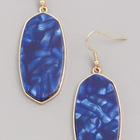 Stained Acrylic Dangle Earrings - Blue