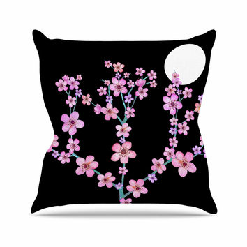 "Julia Grifol ""Cherry Blossom At Night"" Pink Black Throw Pillow"