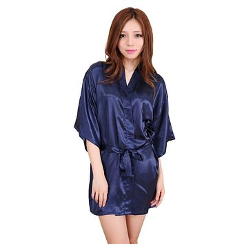 Silk Satin Wedding Bride Robe Floral Bathrobe Short Kimono Robe Night Robe Bath Robe Fashion Dressing Gown for Women S72