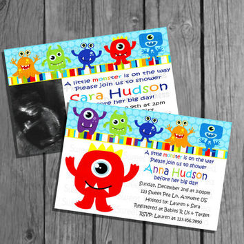 Little Monster Baby Shower Invitation No Pic/Big Monster Option as well  Digital Hig Res You print file DIY 4x6 or 5x7