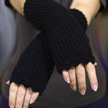 Black fingerless mittens, womens accessories, black texting gloves, vegan friendly, office gloves, handknit armwarmers, size XS to L