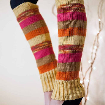 Knit Leg Warmers Knit Boot Socks Adult Legwarmers Womens Striped Leg Warmers Knee High Leg Warmers Yellow Brown Fuchsia Orange