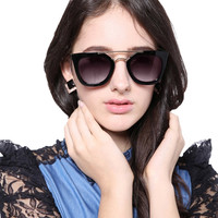 Black Mirrored Lens Square Sunglasses
