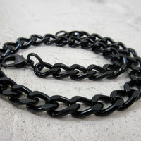 Black Chain Bracelet, Guy Bracelet, Anodized Aluminum Black Chain, Lightweight