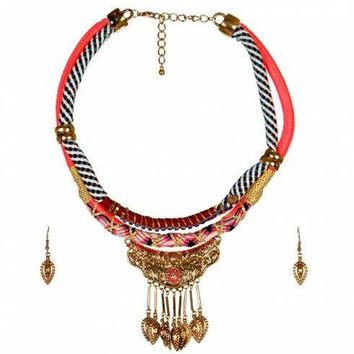 Aztec Print Layered Strand Necklace and Earring Set