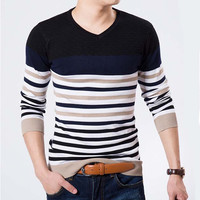 V Neck Color Stripe Men's Fashion Sweater