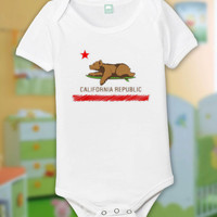California State Baby One Piece, CA Republic Bear  Funny Baby One Piece Bodysuit Romper in White