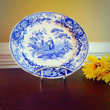 GIRL at WELL SPODE Blue Room Transferware Plate, Vintage China Made in England Collectors Plate, Felix Vintage Market