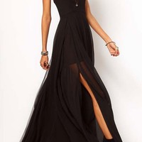 Eye-catching Strap Chiffon Maxi Dress