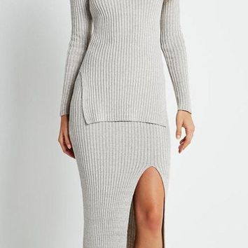 Gray Round Neck Sweater With Side Slits