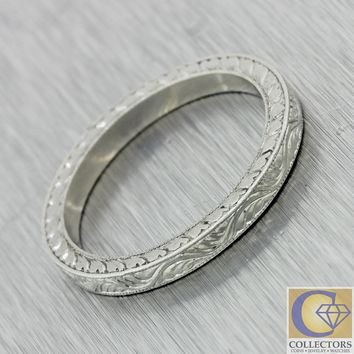 1930s Antique Art Deco Solid Platinum Engraved Design Wedding Band Ring