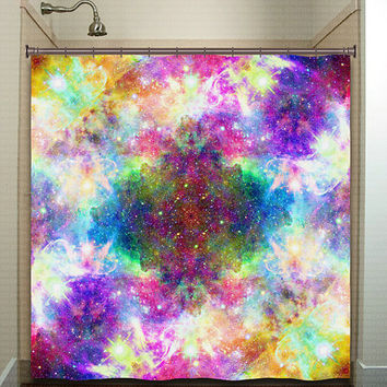 Rainbow Cosmos Nebula Outer Space Galaxy shower curtain bathroom decor fabric kids bath window curtains panels bathmat valance