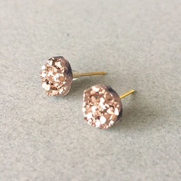 Faux Druzy 8mm, Rose Gold Stud Earring, Rose Gold Druzy Earring, Metallic Earrings, Glitter Stud Earrings