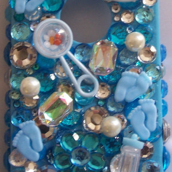 Black Friday Etsy Custom Iphone 4/4s Baby Boy Charm Bling Cell Phone Case  FREE SHIPPING