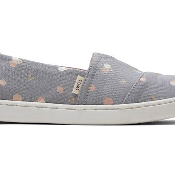 TOMS - Youth Classics Drizzle Grey Party Dots Slip-Ons