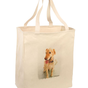 Golden Retriever Watercolor Large Grocery Tote Bag
